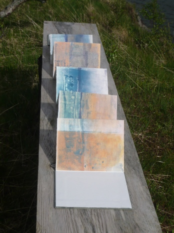 Isle of Barra, Monoprint, folded.