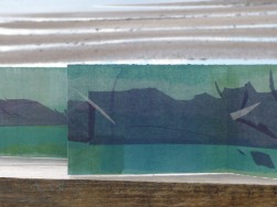 Barra, folded tissue drawing with gannets, diving.