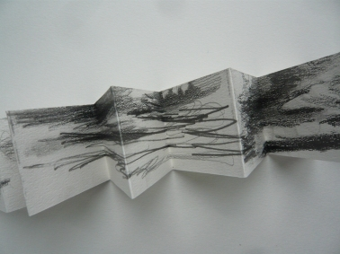 Dart Estuary, concertina drawing 2013.