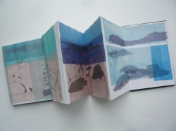 Barra, folded tissue drawings in a bought Seawhite A5 concertina sketchbook with case.